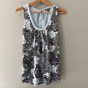 Express Mixed Media Scoop Neck Sleeveless Top SM